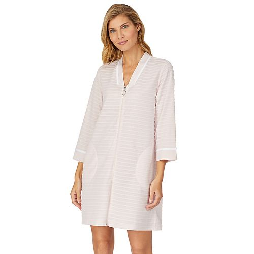 Women's Stan Herman Textured Stripe Zip-Up Robe