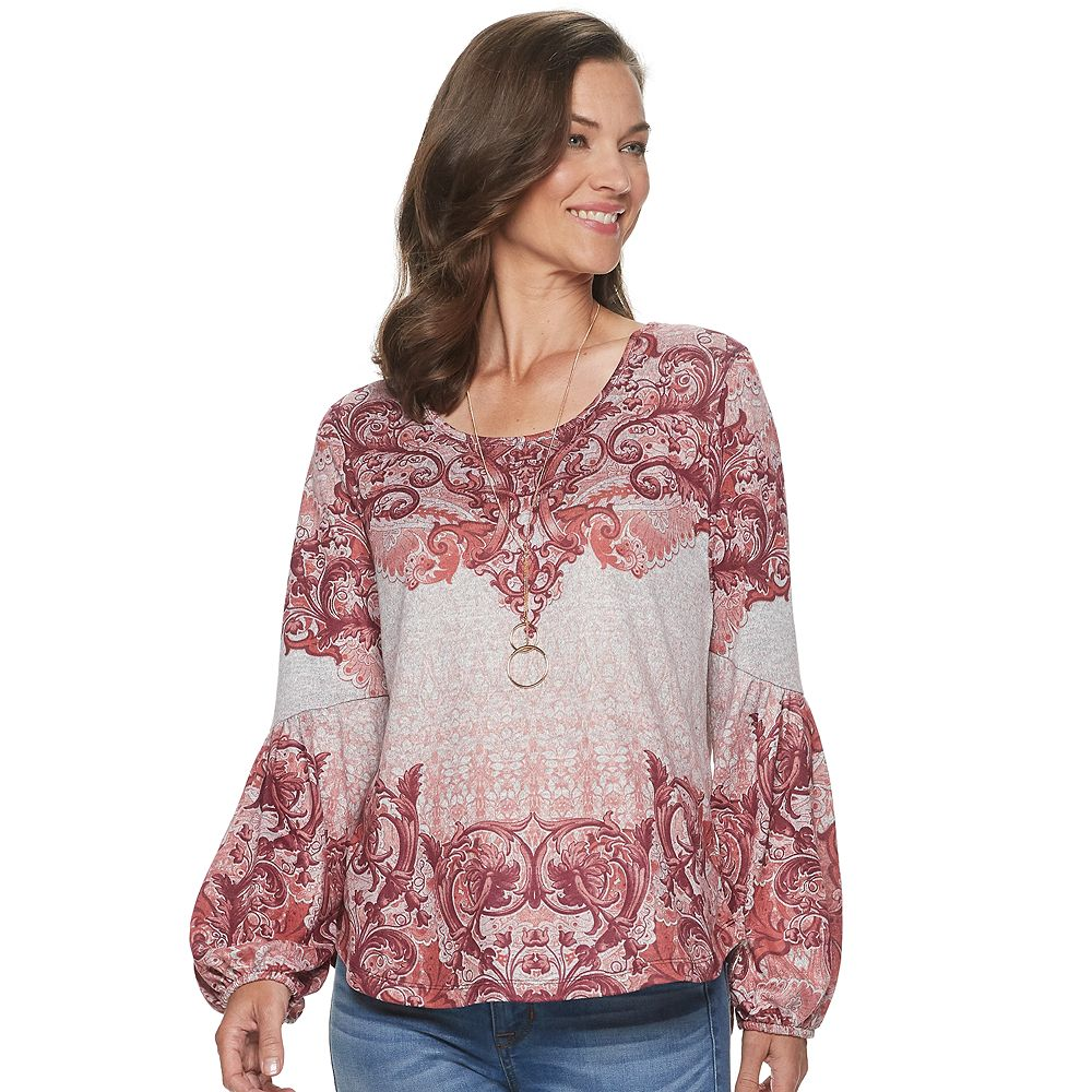 Women's World Unity Bishop Sleeve Shirttail Hem Top