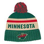 Mens adidas Minnesota Wild Cuffed Knit Pom Beanie Hat