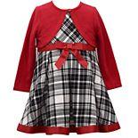 Baby Girl Bonnie Jean Plaid Dress with Ribbon Trim and Matching Knit Bolero Cardigan