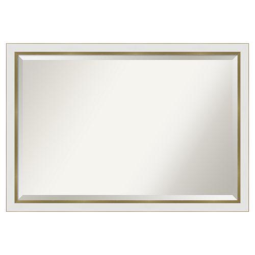 Amanti Art Narrow Eva White Gold Bathroom Vanity Wall Mirror