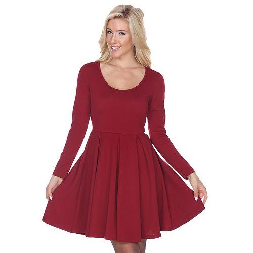 Women's White Mark Long Sleeve Fit n Flare Dress