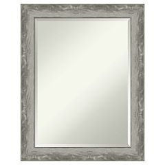 Amanti Art Narrow Waveline Silver Bathroom Vanity Wall Mirror