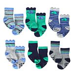 Baby Boy Just Born Lil' Dino 6-Pack Wiggle Proof Socks