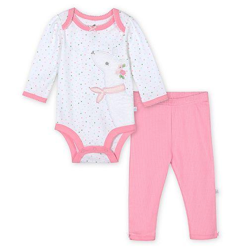 Baby Girl Just Born Lil' Llama 2-Piece Organic Bodysuit & Pant Set