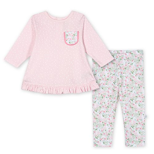 Baby Girl Just Born Lil' Llama Organic 2-Piece Top & Pant Set