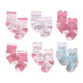 Baby Girl Just Born Lil' Llama 6-Pack Wiggle Proof Socks