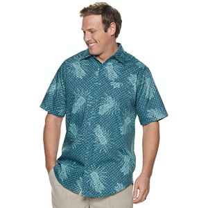 Big & Tall Haggar Printed Short Sleeve Microfiber Button Down Shirt
