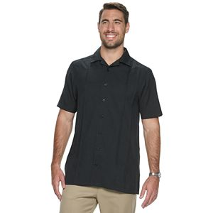 Big & Tall Haggar Modern Fit Pintuck Short Sleeve Microfiber Camp Shirt