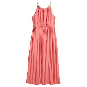 Women's Nina Leonard Rope-Braid Halter-Neck Maxi Dress