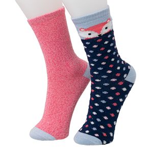 Girl's Cuddl Duds® 2-Pack Plushfill Crew Socks