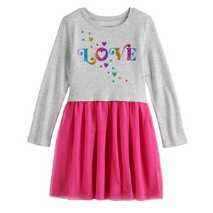 Girls 4-12 Jumping Beans® French Terry Tulle Sweatshirt Dress