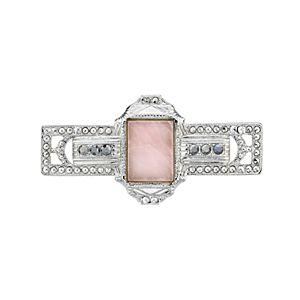 Downton Abbey Silver Tone Square Rose Quartz Bar Pin