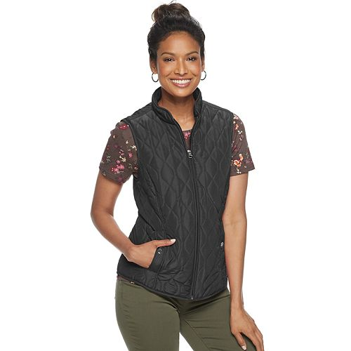 Women's Croft & Barrow® Woven Quilted Vest
