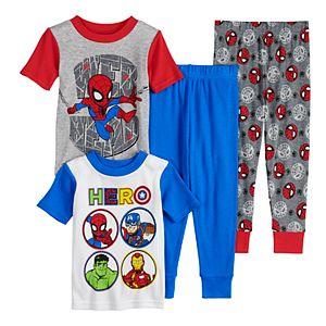 Toddler Boy Marvel Heroes 4 Piece Cotton Pajama Set