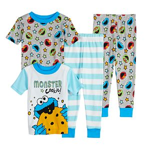 Toddler Boy Sesame Street Cookie Monster 4 Piece Cotton Pajama Set