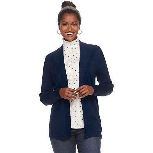 Women's Croft & Barrow® Pointelle Open-Front Cardigan
