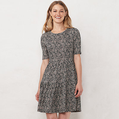 Petite LC Lauren Conrad Ribbed Tiered Fit & Flare Dress