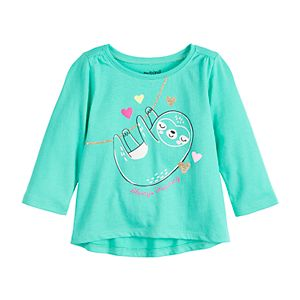 Baby Girl Jumping Beans® Shirred Shoulder Long Sleeve Graphic Tee