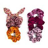 SO® Floral Print & Velvet Scrunchie Set