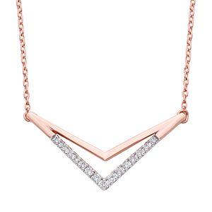10k White Gold Diamond Accent Chevron Necklace
