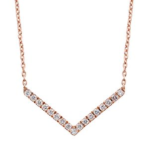 10k White Gold 1/6 ct. T.W. Diamond Chevron Necklace
