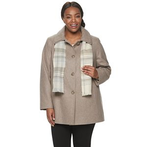 Plus Size TOWER by London Fog Scarf & Wool-Blend Coat