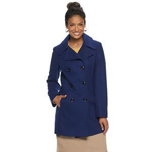 Women's TOWER by London Fog Double-Breasted Wool Blend Coat