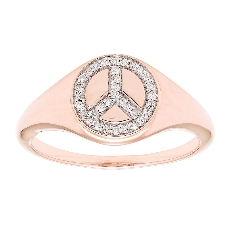 It's Personal 14k Gold 1/10 Crat T.W. Diamond Peace Sign Ring, Women's, Size: 4.50, White