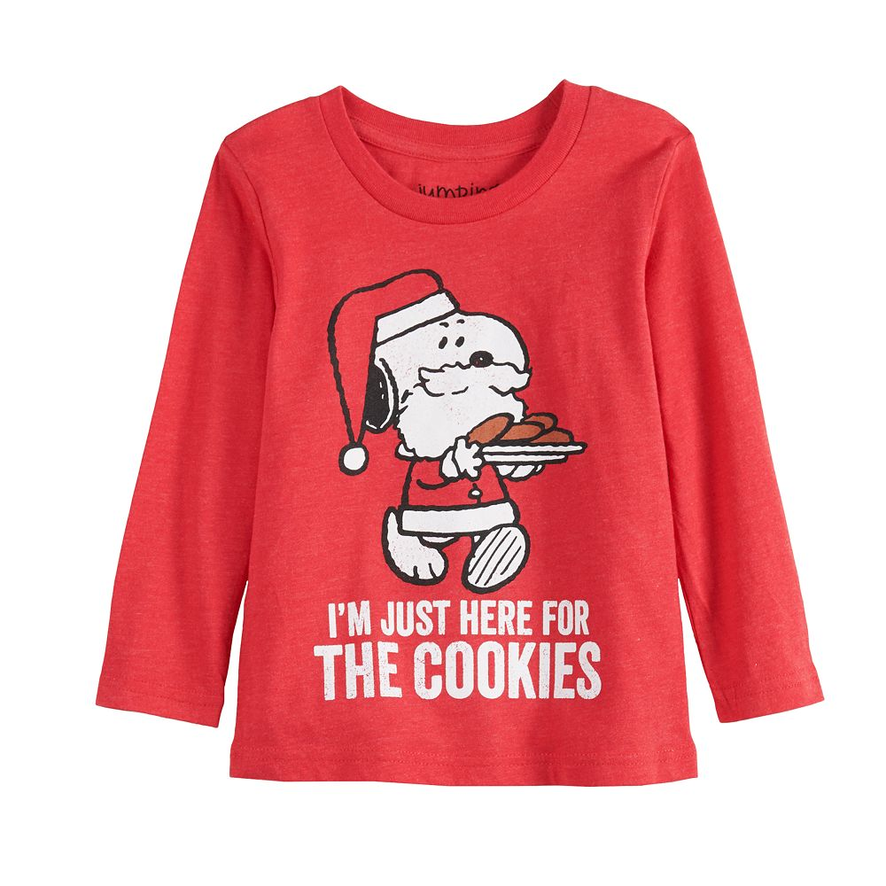 """Toddler Boy Jumping Beans® Snoopy """"Here For The Cookies"""" Long Sleeve Tee"""