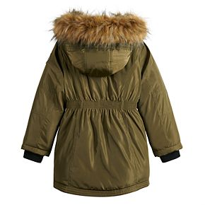 Girls 7-16 madden NYC Anorak with Faux Fur Hood Jacket