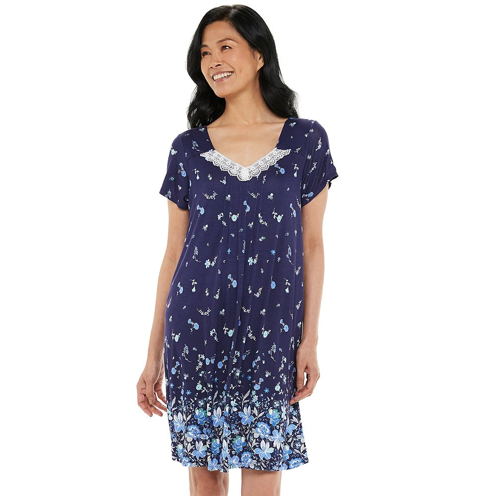 Women's Croft & Barrow® Print Lace-Trim Nightgown
