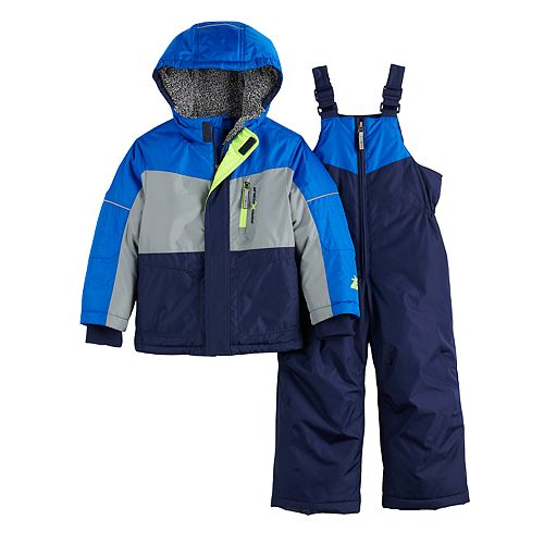 Toddler Boy ZeroXposur Colorblock Hooded Heavyweight Jacket & Bib Snow Pants Set