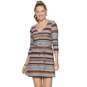 Juniors' Speechless Striped 3/4 Sleeve Dress