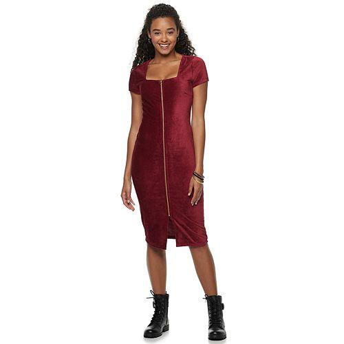 Juniors' Almost Famous Square Neck Midi Dress