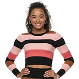 Juniors' Love, Fire Striped Ribbed Sweater