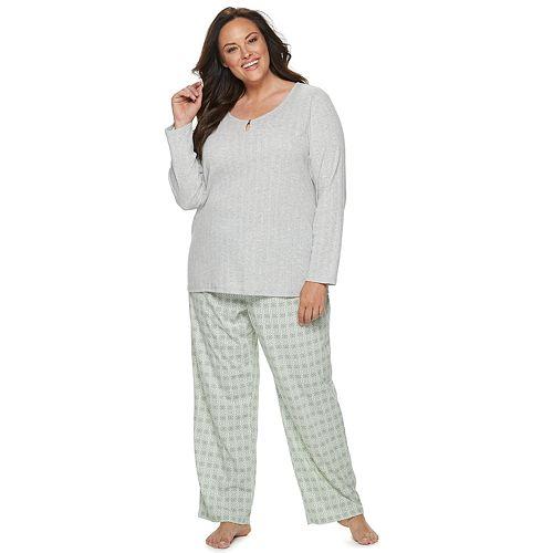 Plus Size Croft & Barrow® Front Cutout Top & Bottom Sleep Set