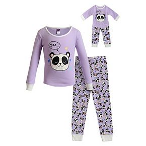 Girls 4-14 Dollie & Me Knit Snug Fit Top with Pants and Doll 4-Pc. Set