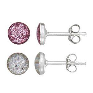 Charming Girl Sterling Silver Glitter Stud Earrings