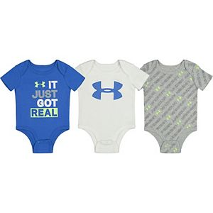 "Baby Boy Under Armour ""It Just Got Real"" Bodysuits 3pk"