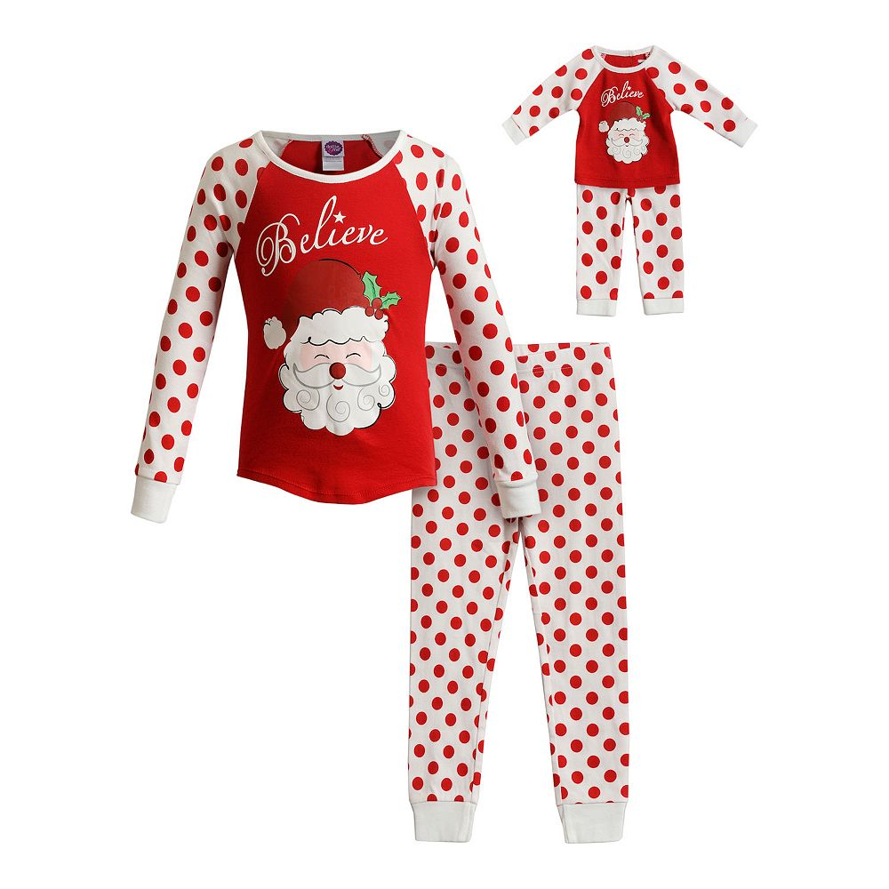 Girls 4-14 Dollie & Me Snug Fit Top with Pants and Doll 4-pc. Holiday Set