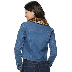 Juniors' Candie's® Faux Fur Collar Denim Jacket