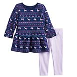 Baby Girl Jumping Beans® Unicorn Peplum-Hem Tunic & Leggings Set