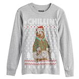 Boys 8-20 Funny Holiday Raglan Long Sleeve Tee