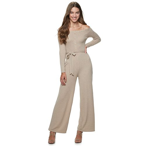 Juniors' Almost Famous Ruffled Off-The-Shoulder Jumpsuit