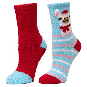 Girl's 4-16 SO® 2-pack Holiday Cozy Crew Sock