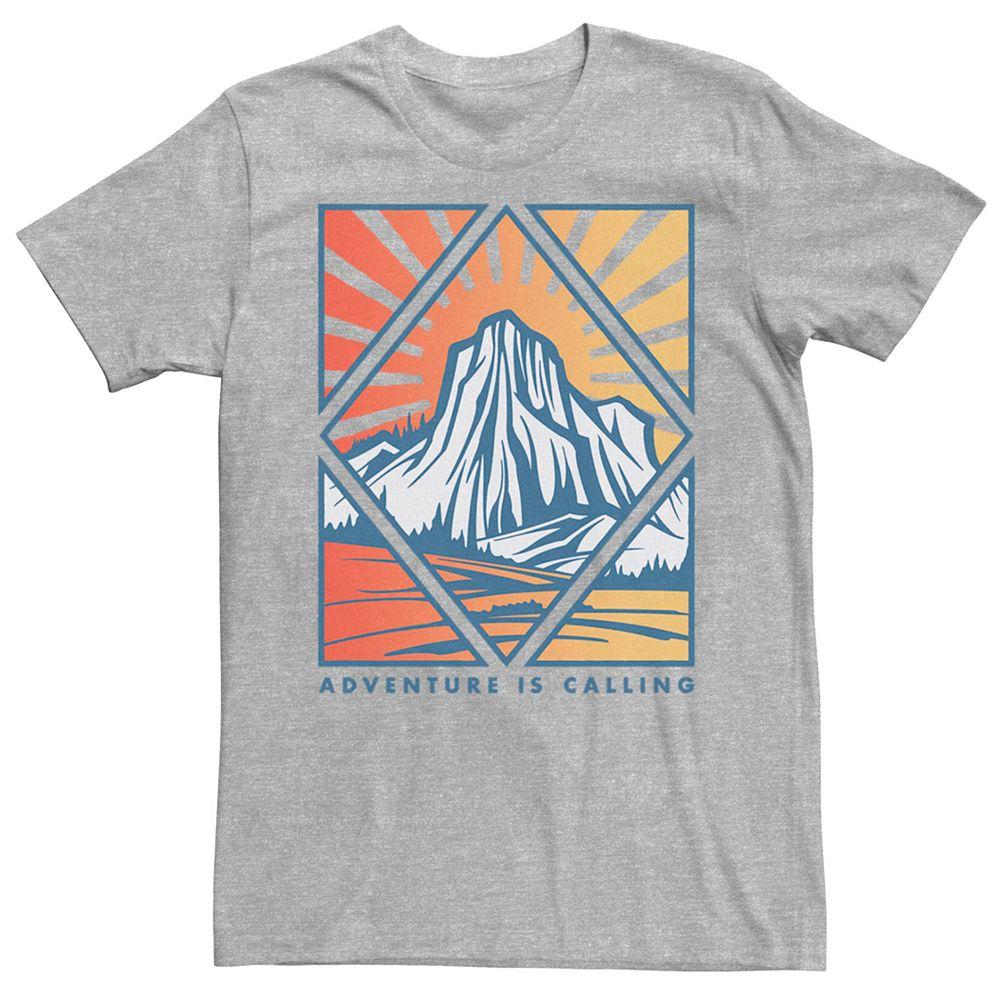 Men's Adventure Is Calling Geometric Mountain Sunset Tee