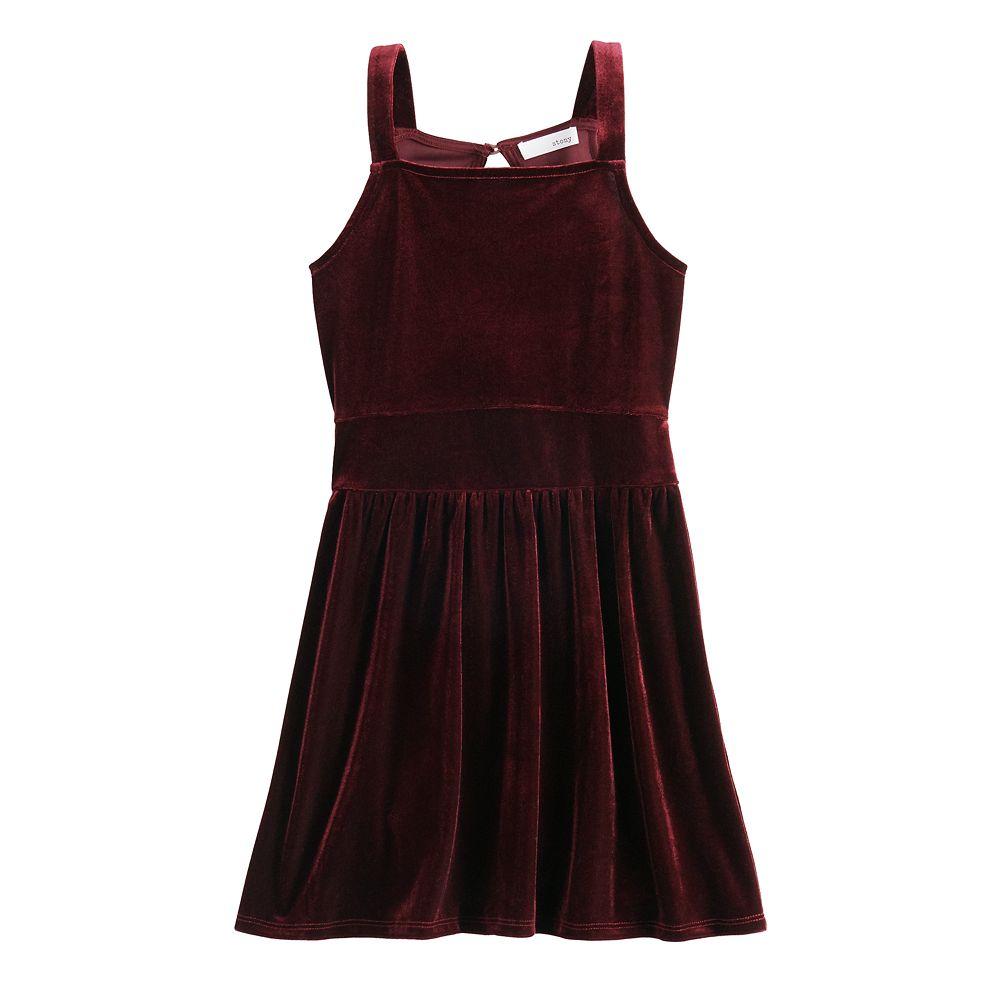 Girls 7-16 Love & Let Love Velvet Squareneck Dress