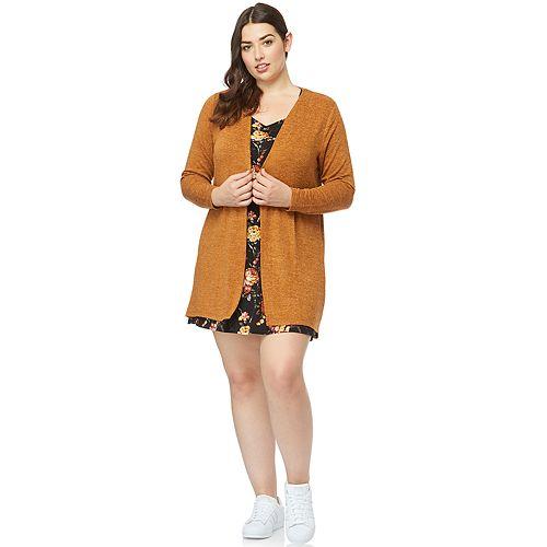 Juniors' Plus Size WallFlower Printed Dress & Soft Cardigan Set