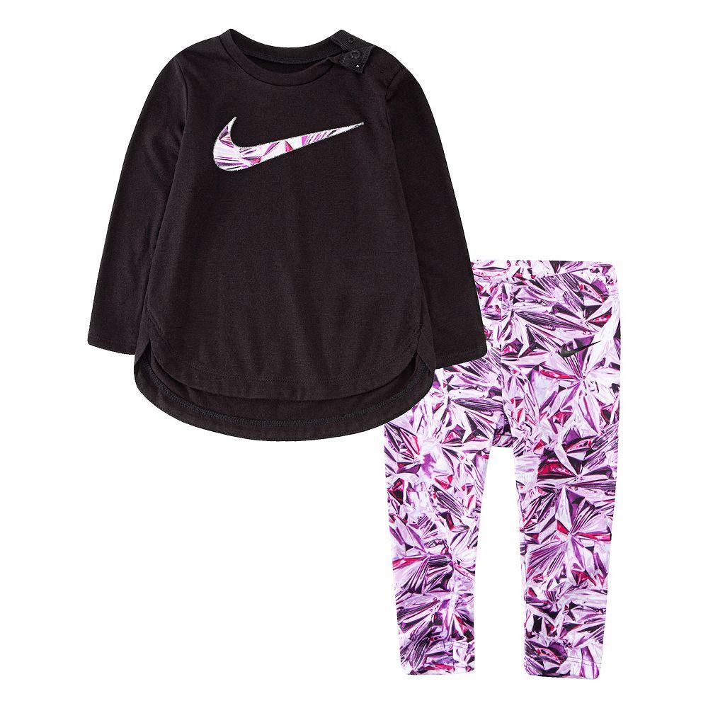 Baby Girl Nike Dri-FIT Long Sleeve Graphic Tunic Top & Leggings Set